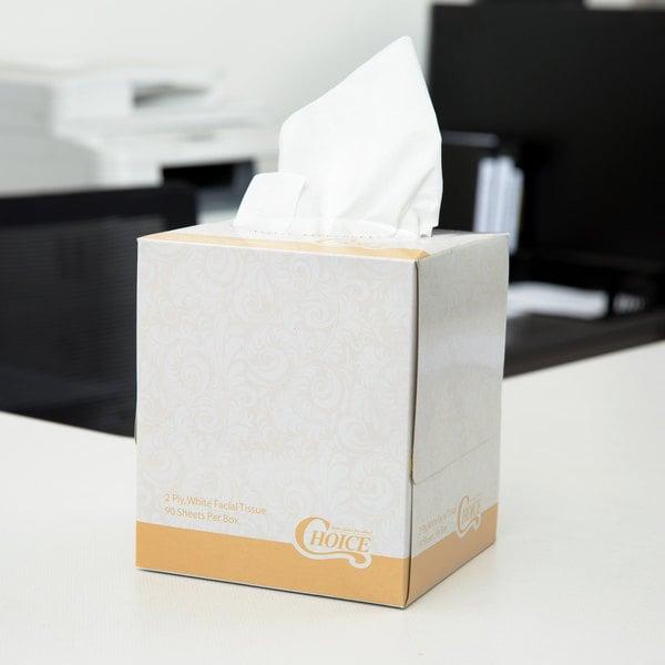 Choice 2-Ply Facial Tissue Cube - 36/Case Main Image 3