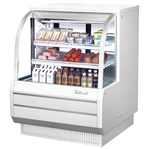 "Turbo Air TCDD-48-2-H 48"" White Curved Glass Refrigerated Deli Case"
