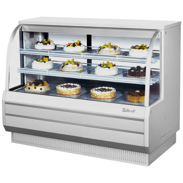 """Turbo Air TCGB-60DR-W-N White 60"""" Curved Glass Dry Bakery Display Case"""
