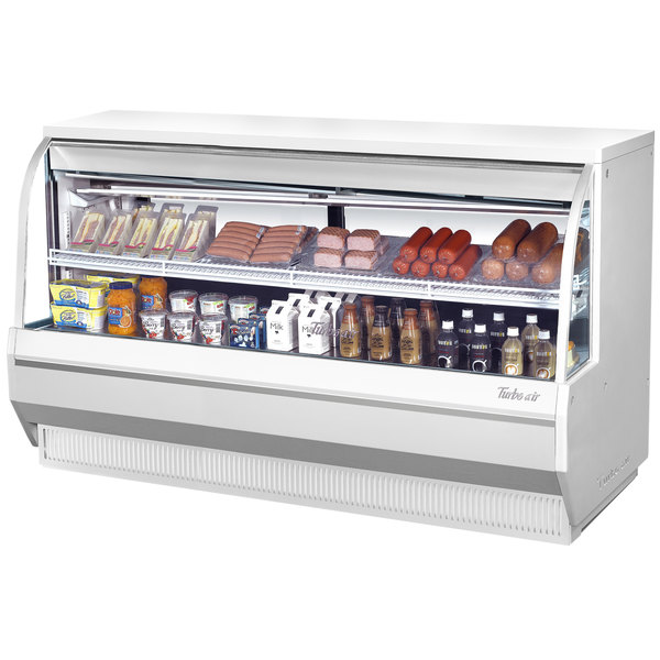 "Turbo Air TCDD-72L-W-N 72"" White Low Profile Curved Glass Refrigerated Deli Case"