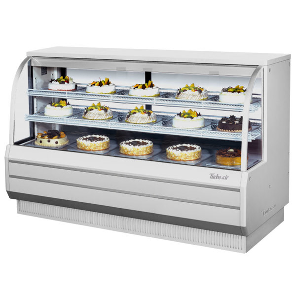 "Turbo Air TCGB-72DR-W-N White 72"" Curved Glass Dry Bakery Display Case"