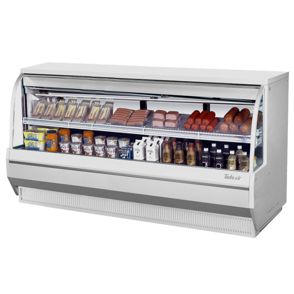 """Turbo Air TCDD-96-4-L 96"""" White Low Profile Curved Glass Refrigerated Deli Case"""