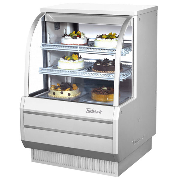 """Turbo Air TCGB-36-2 White 36"""" Curved Glass Refrigerated Bakery Display Case"""