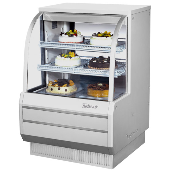 """Turbo Air TCGB-36DR-W-N White 36"""" Curved Glass Dry Bakery Display Case"""