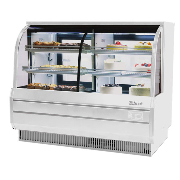 "Turbo Air TCGB-72CO-W-N 72"" White Curved Glass Dual Dry / Refrigerated Bakery Display Case"