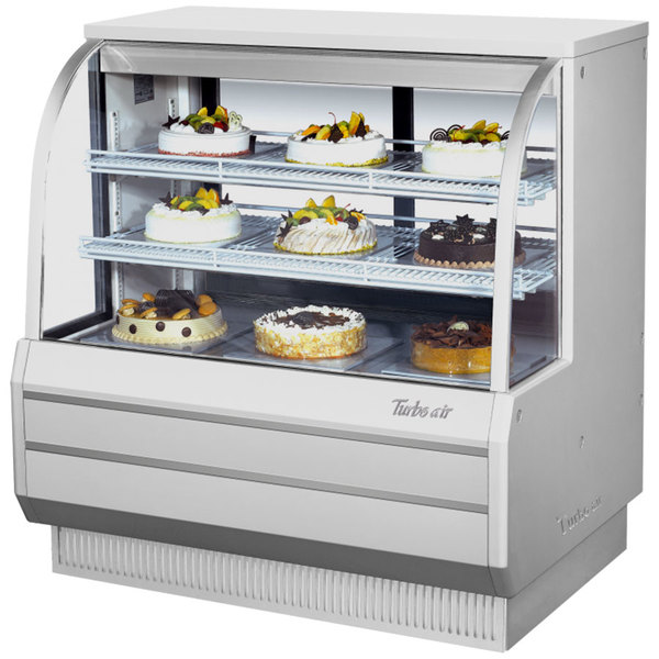 "Turbo Air TCGB-48-W-N White 48"" Curved Glass Refrigerated Bakery Display Case"