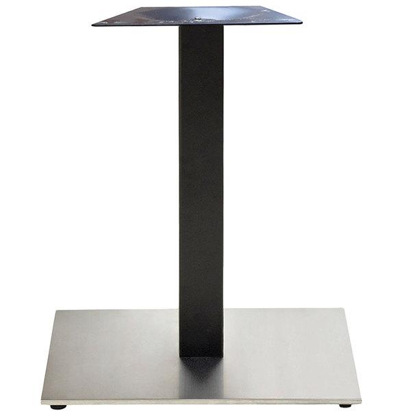 "Grosfillex US321209 VanGuard 22"" x 22"" Black / Stainless Steel Square Pedestal Base Main Image 1"