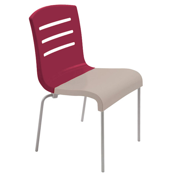 Grosfillex US410187 Domino Indoor Stacking Resin Chair with Raspberry Back and Linen-Color Seat - 4/Pack
