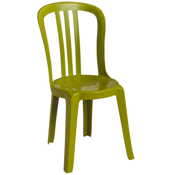 Pack of 4 Grosfillex US495152 / US490152 Miami Bistro Fern Green Outdoor Stacking Resin Sidechair