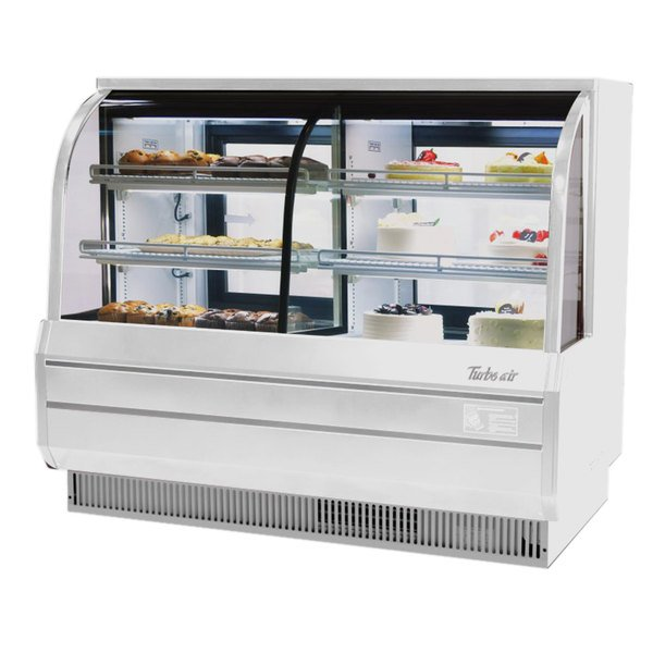 "Turbo Air TCGB-60-CO 60"" White Curved Glass Dual Dry / Refrigerated Bakery Display Case"