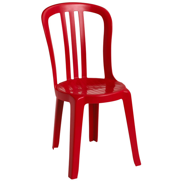 Pack of 4 Grosfillex US495414 / US490414 Miami Bistro Red Stacking Outdoor Resin Sidechair