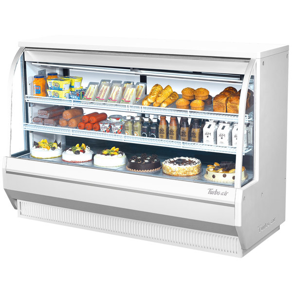 "Turbo Air TCDD-72H-W-N 72"" White Curved Glass Refrigerated Deli Case"