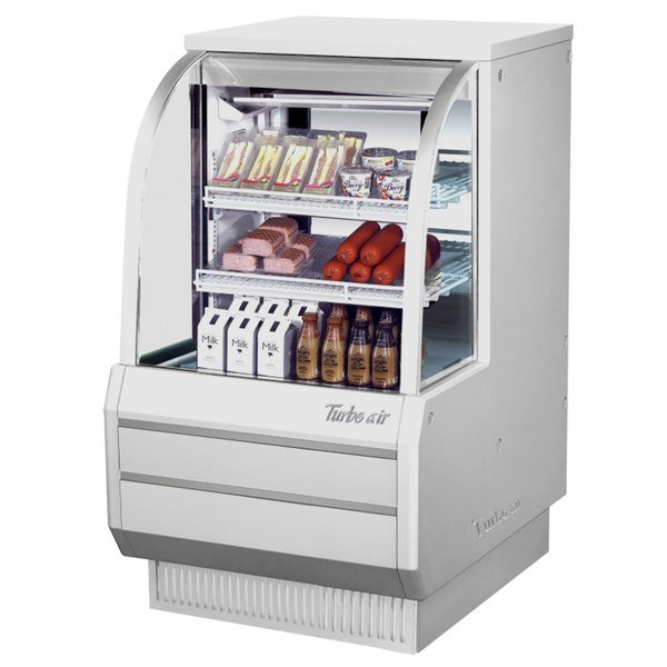 """Turbo Air TCDD-36H-W-N 36"""" White Curved Glass Refrigerated Deli Case"""