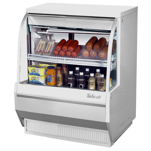 "Turbo Air TCDD-36L-W-N 36"" White Low Profile Curved Glass Refrigerated Deli Case Main Image 1"
