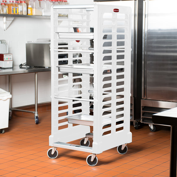 Rubbermaid FG332400OWHT ProServe 18 Pan Ivory Max System Dual Load Steam Table Pan Rack - Unassembled