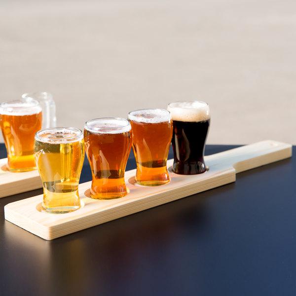 libbey mini pub glass beer flight set 4 glasses with natural wood