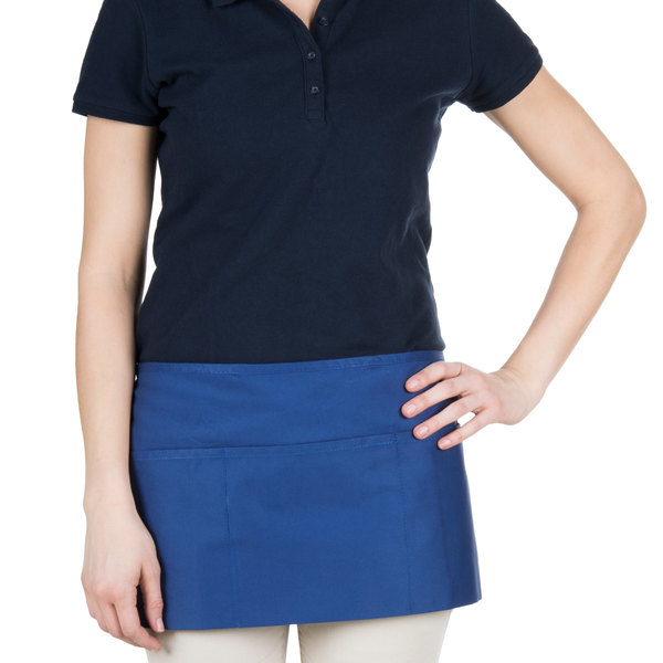 """24"""" x 12"""" Royal Blue Front of the House Waist Apron with Three Pockets"""