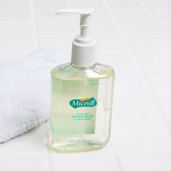 Micrell® 9752-12 8 oz. Floral Antibacterial Lotion Hand Soap with PCMX and Pump - 12/Case Main Image 5