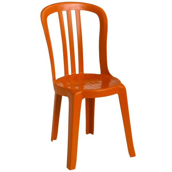 Grosfillex US495019 / US490019 Miami Bistro Orange Outdoor Stacking Resin Sidechair Main Image 1