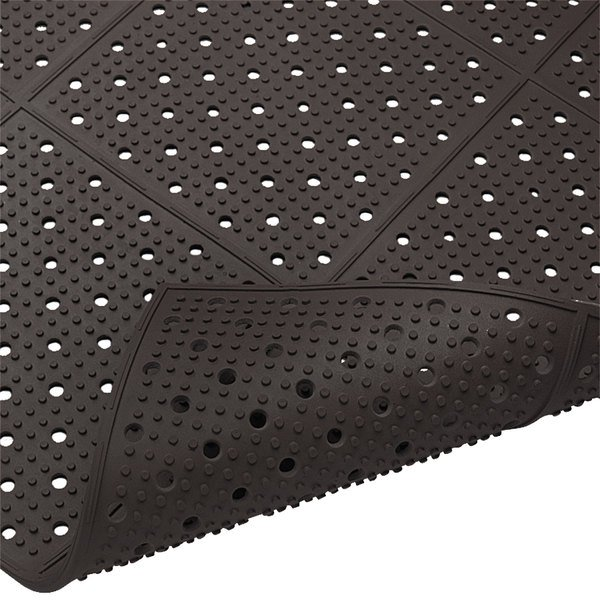 """Cactus Mat 1640R-C364 REVERS-a-MAT 3' Wide Black Reversible Rubber Anti-Fatigue Safety Runner Mat - 3/8"""" Thick Main Image 1"""