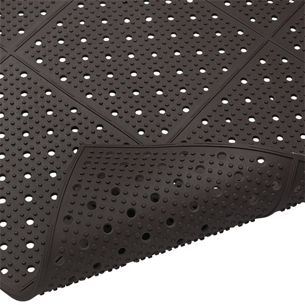 "Cactus Mat 1640R-C364 REVERS-a-MAT 3' Wide Black Reversible Rubber Anti-Fatigue Safety Runner Mat - 3/8"" Thick"