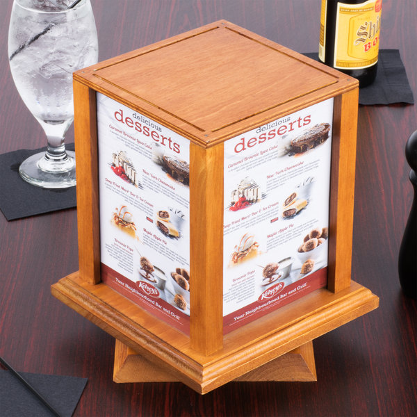 Menu Solutions WTSSOAK X Oak Four Sided Rotating Wood - Wooden table tents