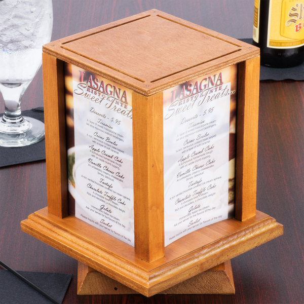 Menu Solutions WTSOAK X Oak Four Sided Rotating Wood Table - Wooden table tents