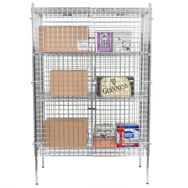 "Regency NSF Stationary Chrome Wire Security Cage Kit - 24"" x 48"" x 74"""