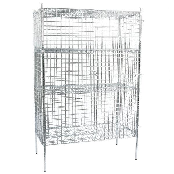 "Regency NSF Stationary Chrome Wire Security Cage Kit - 24"" x 48"" x 74"" Main Image 1"