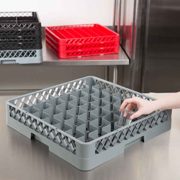 """Noble Products 49-Compartment Gray Full-Size Glass Rack - 19 3/8"""" x 19 3/8"""" x 4"""""""