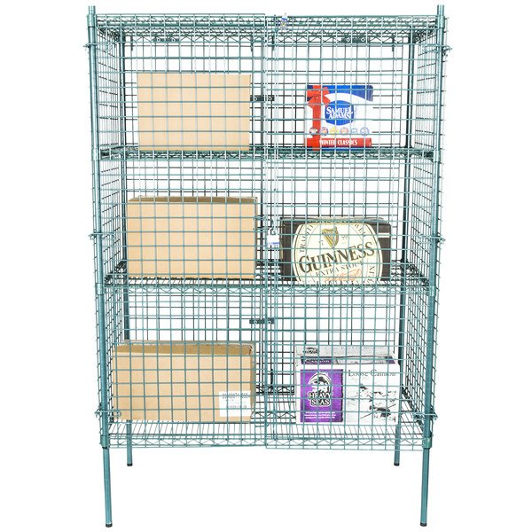 "Regency NSF Stationary Green Wire Security Cage Kit - 24"" x 48"" x 74"""