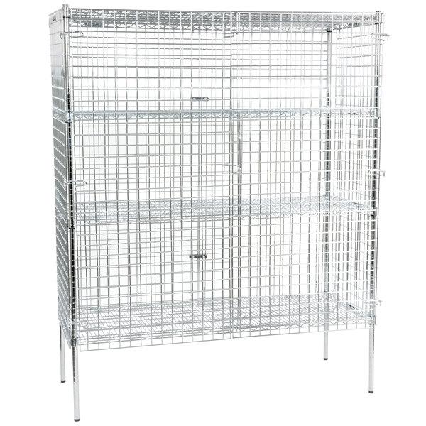 "Regency NSF Stationary Chrome Wire Security Cage Kit - 24"" x 60"" x 74"""