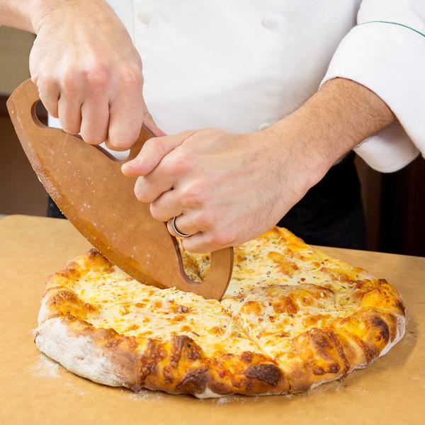 "American Metalcraft PRKS 10"" Pressed Wood Pizza Rocker Knife"
