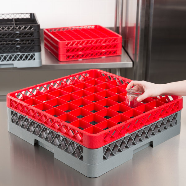 "Noble Products 49-Compartment Gray Full-Size Glass Rack with 1 Red Extender - 19 3/8"" x 19 3/8"" x 5 3/4"""