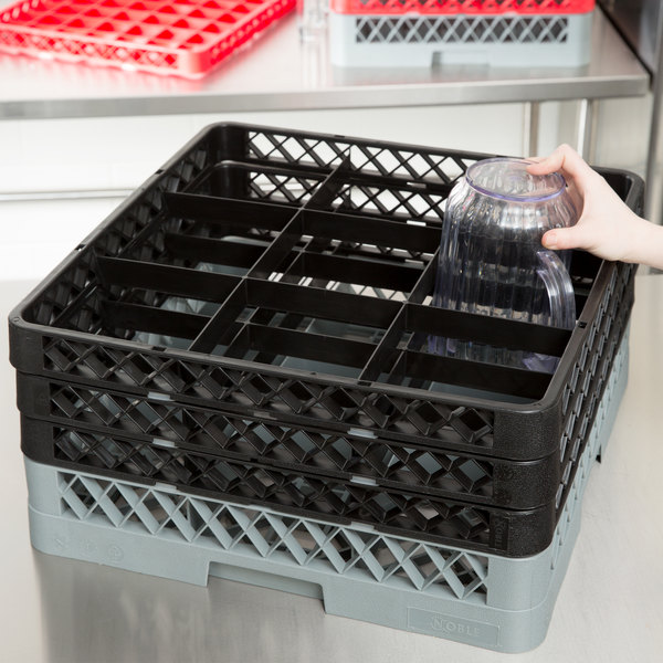 Noble Products 9-Compartment Gray Full-Size Glass Rack with 3 Black Extenders