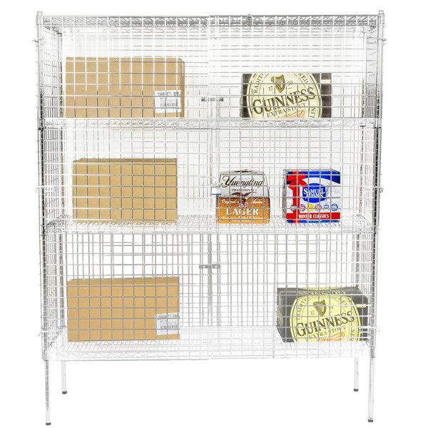 "Regency NSF Stationary Chrome Wire Security Cage Kit -18"" x 60"" x 74"""