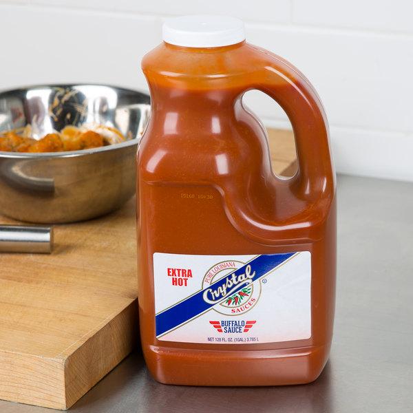 Crystal 1 Gallon Extra Hot Buffalo Wing Sauce - 4/Case