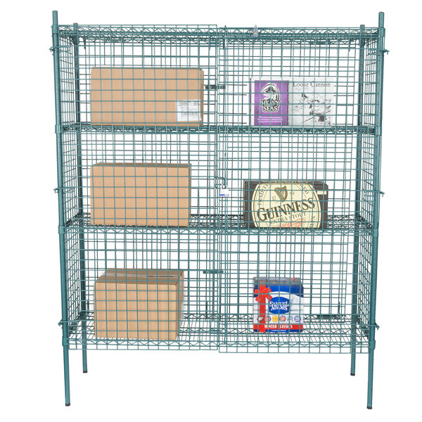"Regency NSF Stationary Green Wire Security Cage Kit - 18"" x 60"" x 74"""