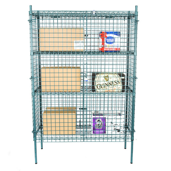 "Regency NSF Stationary Green Wire Security Cage Kit - 18"" x 48"" x 74"""