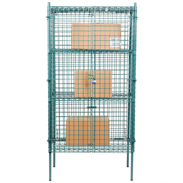 Regency NSF Stationary Green Wire Security Cage Kit - 18\