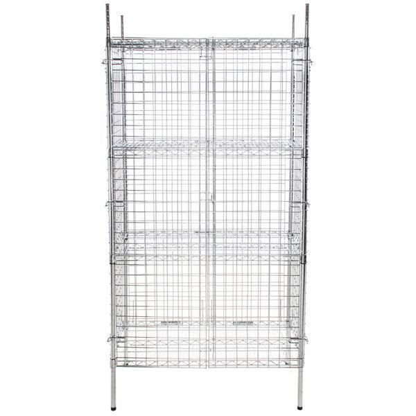 "Regency NSF Stationary Chrome Wire Security Cage Kit - 18"" x 36"" x 74"""