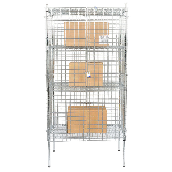 "Regency NSF Stationary Chrome Wire Security Cage Kit - 24"" x 36"" x 74"""