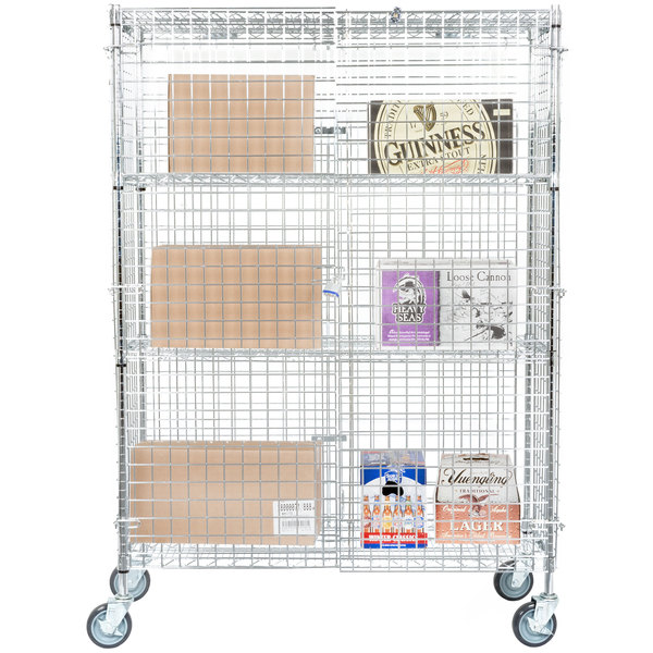 """Regency NSF Mobile Chrome Wire Security Cage Kit - 18"""" x 48"""" x 69"""""""