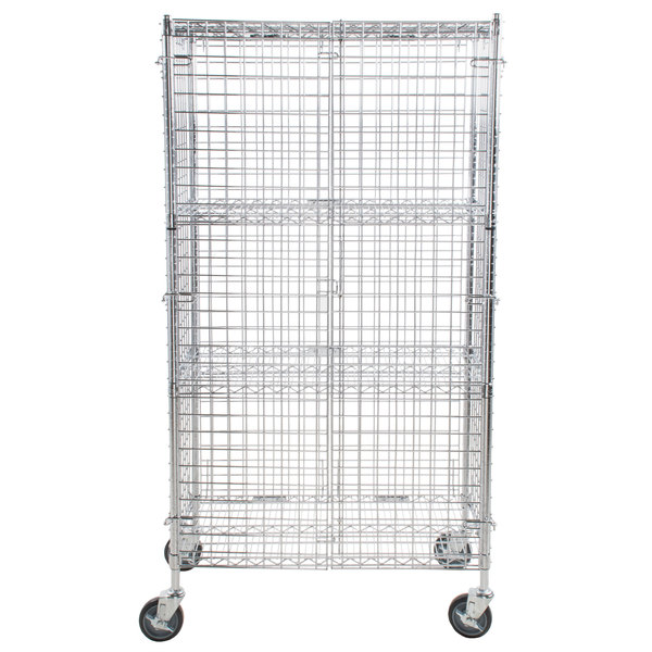 55fc8f0ba5a A Regency mobile chrome wire security cage kit transports easily and  protects its contents from damage or theft. Because this unit also has  multiple shelves ...