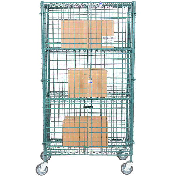 "Regency NSF Mobile Green Wire Security Cage Kit - 18"" x 36"" x 69"" Main Image 4"