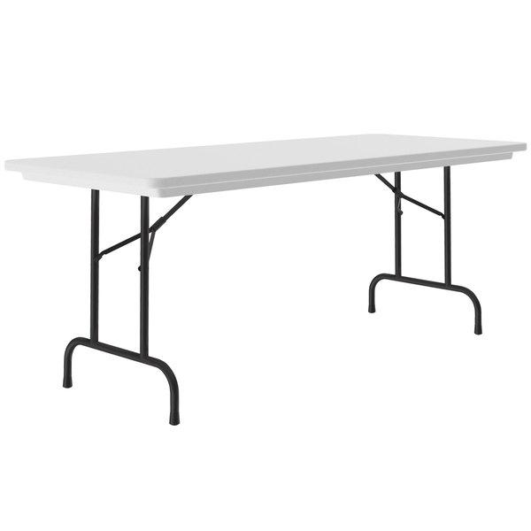"Correll Heavy-Duty Folding Table, 30"" x 72"" Blow-Molded Plastic, Gray Granite - R3072-23 Main Image 1"