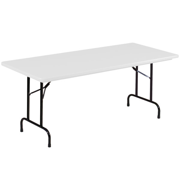 "Correll Heavy-Duty Folding Table, 30"" x 72"" Blow-Molded Plastic, Gray Granite - R3072-23"