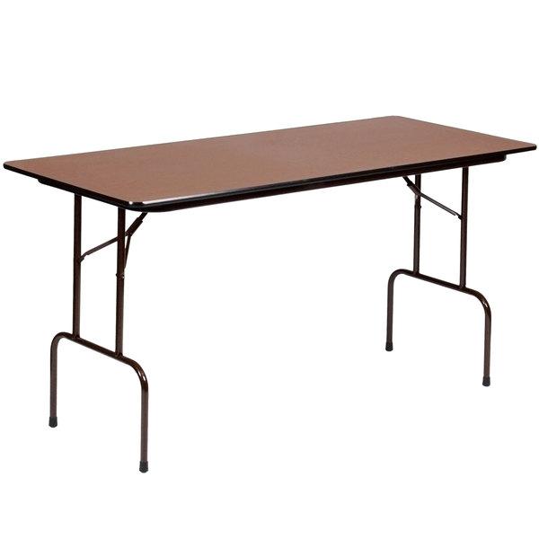 "Correll 36"" Bar Height Folding Table, 30"" x 72"" Melamine, Walnut - CFS3072M"