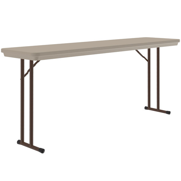 "Correll R1872-24 18"" x 72"" Mocha Granite Blow-Molded Plastic Heavy-Duty Seminar Folding Table Main Image 1"