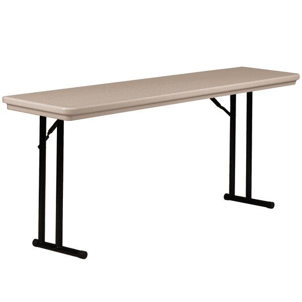 "Correll R1872-24 18"" x 72"" Mocha Granite Blow-Molded Plastic Heavy-Duty Seminar Folding Table"